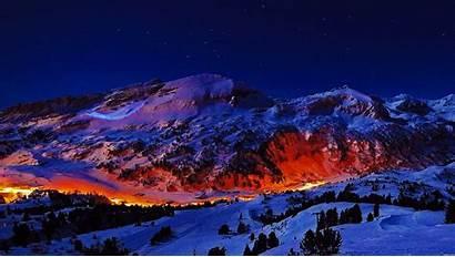 Night Mountains Mountain Snowy Winter Nature Snow