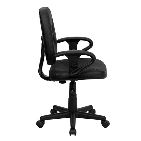 mid back black leather ergonomic swivel task chair with