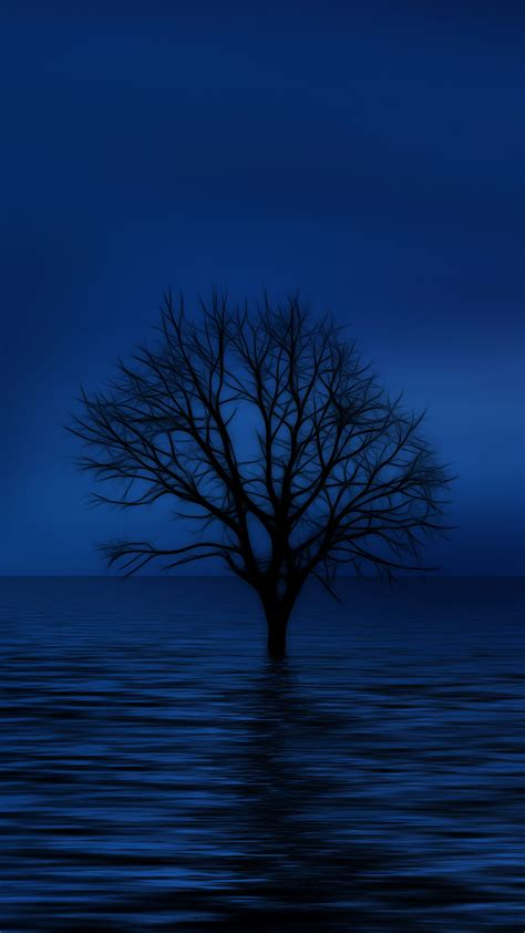 blue tree hd wallpaper for your mobile phone