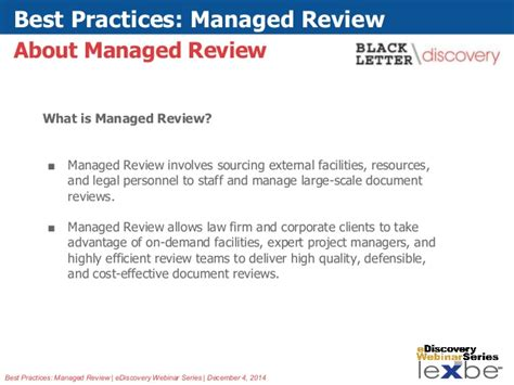 Lexbe Ediscovery Webinar Best Practices Managed Review
