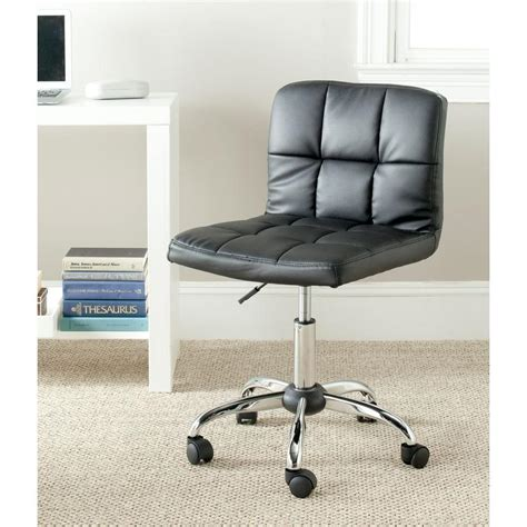 safavieh brunner black faux leather office chair fox8510a