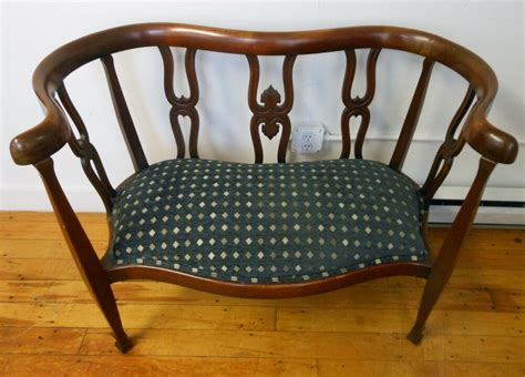 settee bench vintage carved wood serpentine bench settee upholstered