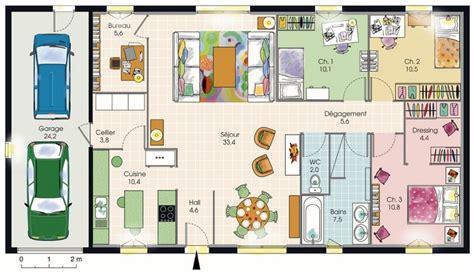 plan maison 100m2 plein pied 3 chambres modèle de plan de maison plain pied avec 3 chambres et