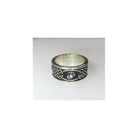 marine corps wedding bands with celtic knot weave