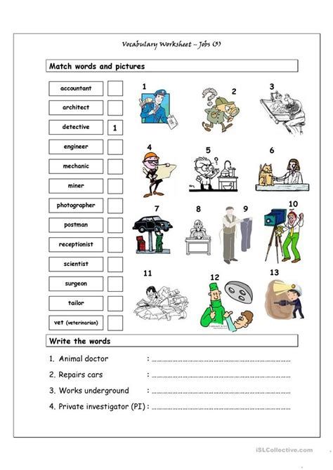 Vocabulary Matching Worksheet  Jobs (3) Worksheet  Free Esl Printable Worksheets Made By Teachers
