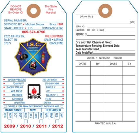 custom printed fire extinguisher tags universal tag