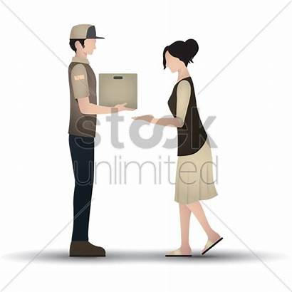 Delivery Parcel Woman Vector Illustration Receiving Stockunlimited