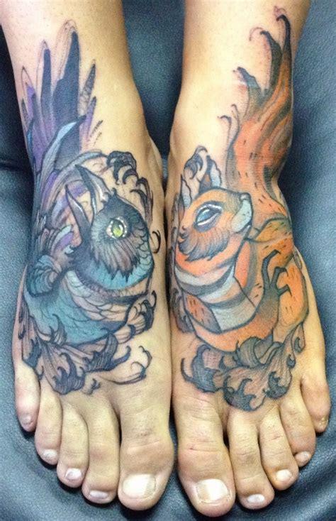 Squirrel Reaching Nuts Tattoo Leg