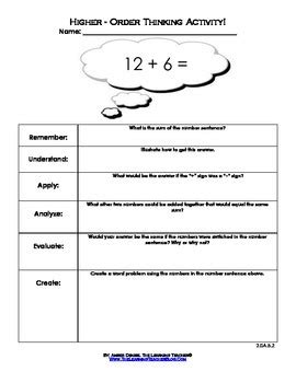 higher order thinking worksheets 2nd grade operations