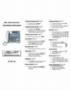 Nec Dterm Series 80 User Manual