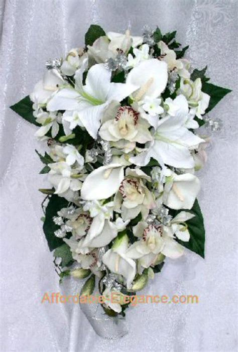 wedding bouquets calla lilies cascade bridal bouquet calla tiger lilies orchids 8498