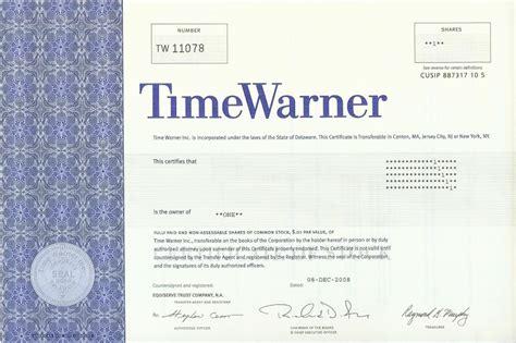 Time Warner Stock Certificate