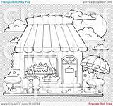 Candy Cake Coloring Outdoor Pages Clipart Illustration Storefront Background Seating Outlined Clip Sketch Vector Royalty Template Visekart Transparent Templates sketch template