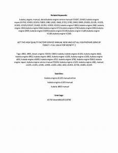 Kubota Diesel Engine Repair Manual D905 D1005 D1105 V1205
