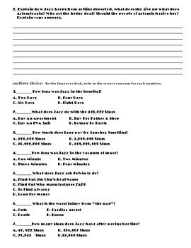 Artemis by Andy Weir (The Martian) Chapter 17 Worksheets
