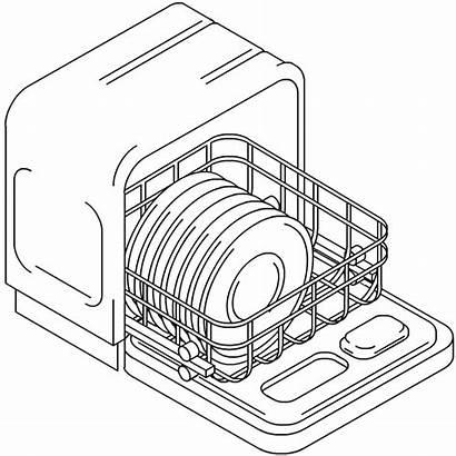 Dishwasher Drawing Dishes Washing Clipart Machine Coloring