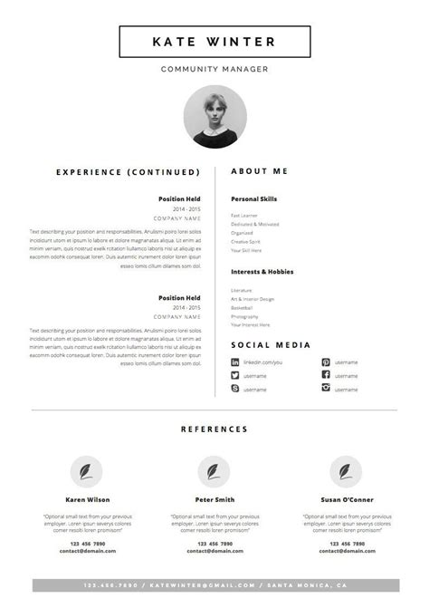 Set Resume Template by Minimalist Resume Template Cover Letter Icon Set For