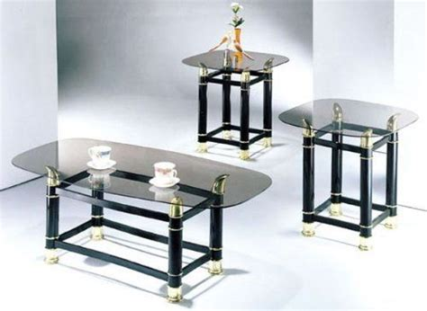3 piece pack 2 quot tube black finish horn coffee end table
