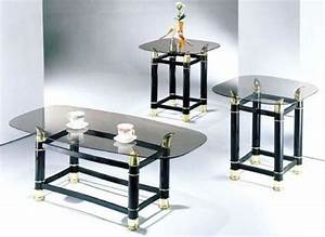 3 piece pack 2quot tube black finish horn coffee end table With gold glass coffee table set