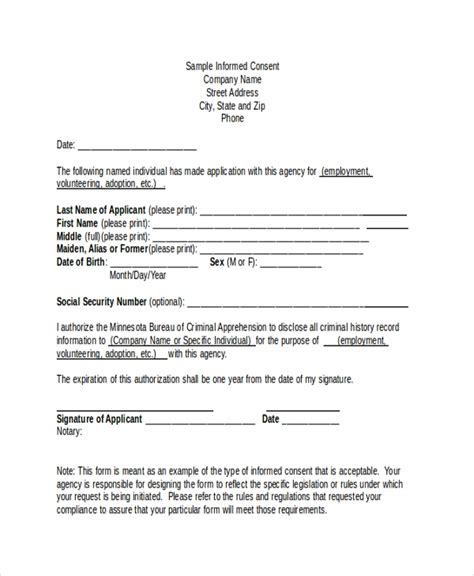 sample informed consent forms  ms word
