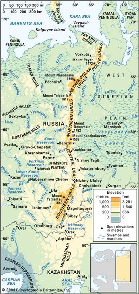 ural mountains location map highest peak facts
