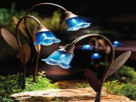 outdoor decor lights blue bell stake solar lawn lights