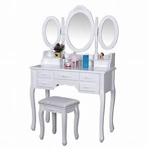 Coiffeuse 3 Miroirs : coiffeuse bois avec grand miroir et tabouret table maquillage blanc helloshop26 1412010 ~ Teatrodelosmanantiales.com Idées de Décoration