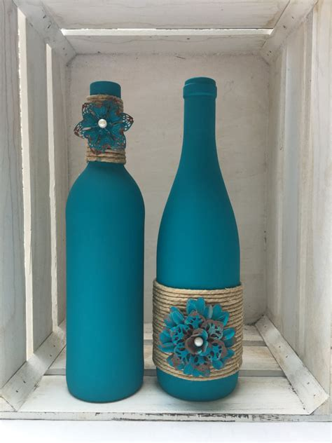 wine bottle ls crafts teal chalk painted wine bottles with twine and metal