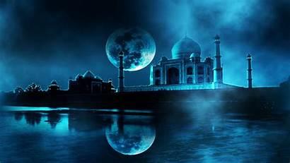 Mahal Taj Night Moon Virtual Wallpapers 3d