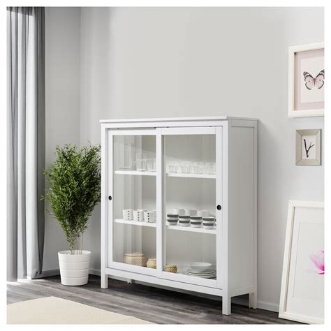hemnes glass door cabinet white stain 120x130 cm ikea