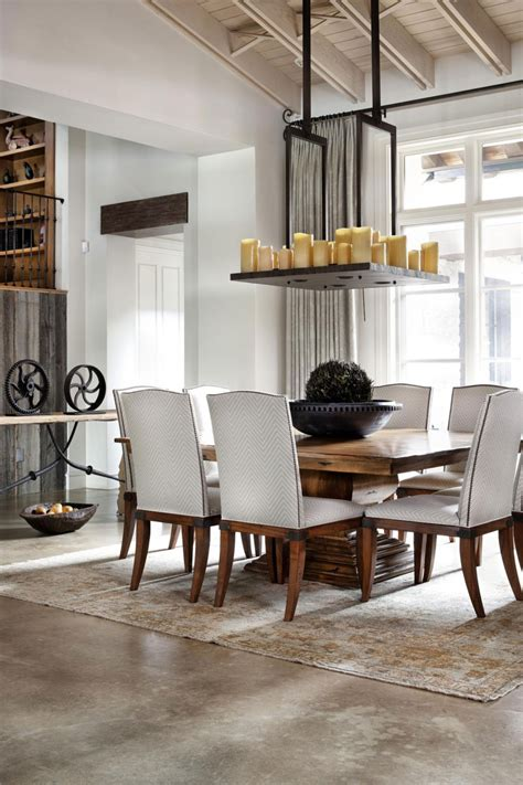 Or, opt for a rustic table featuring a clean, modern silhouette for your dining room. Rustic Texas Home With Modern Design and Luxury Accents