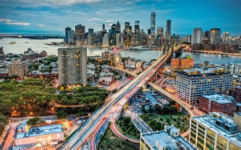 manhattan  york city  night wallpaper