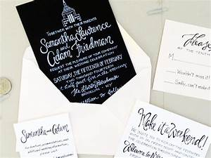 sam adam39s hand lettered nyc wedding invitations With wedding invitations cheap nyc