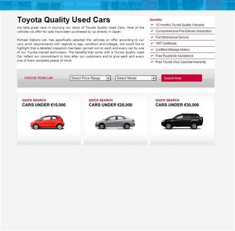 website toyota portfolio corporate toyota used cars application