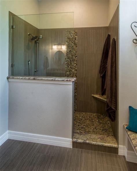 contemporary bathroom  partially enclosed walk