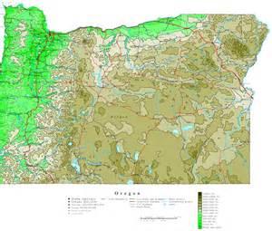 Oregon Contour Map Oregon