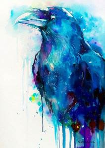 Raven watercolor painting print crow bird wildlife por ...