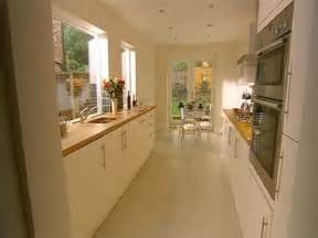 kitchen idea long narrow kitchen design with window over