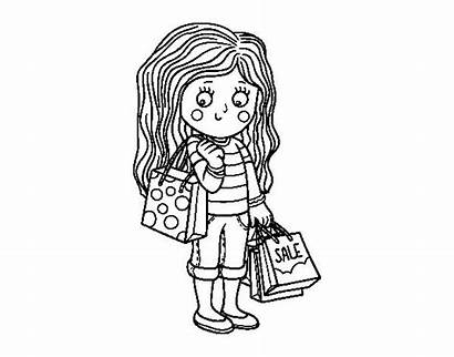 Coloring Shopping Pages Supermarket Bag Mall Summer