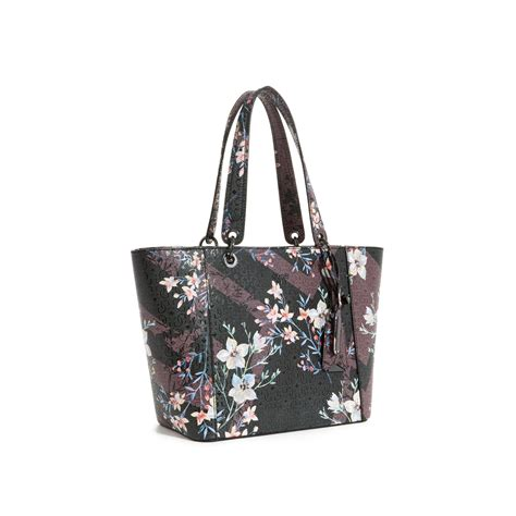 guess kamryn logo shopper lyst guess kamryn floral tote