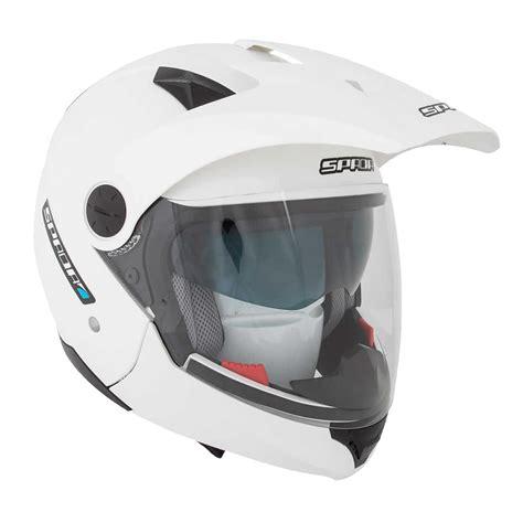 white motocross helmet spada duo solid plain pearl white dual sport motorcycle