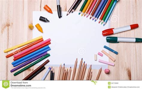 drawing materials stock image image  brown desk