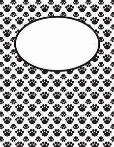 free printable black and white paw print binder cover With black and white binder cover templates