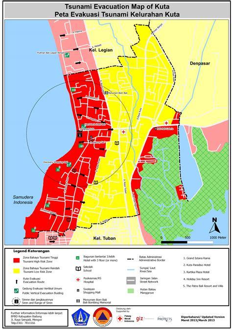tsunami kit tsunami evacuation map bali badung