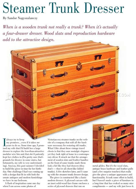 steamer trunk dresser plans furniture plans