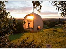 Spherical Roomoon is a haven that hangs among the trees
