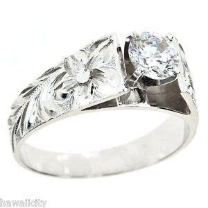 hawaiian heirloom jewelry 14k white gold cubic zirconia wedding engagement ring ebay