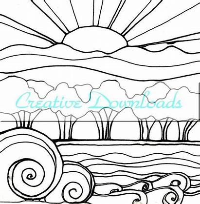 Sunset Coloring Pages Drawing Landscape Beach Flowers