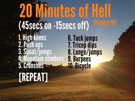 minutes  hell workout  equipment required lazy