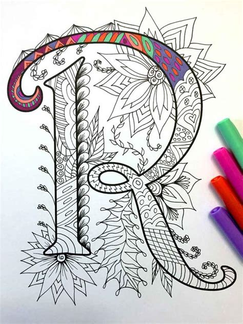 letter r zentangle inspired by the font